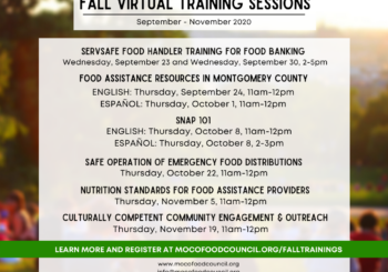 September 23 and 30, Food Security Virtual Training Series: ServSafe Training
